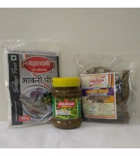 Combo of Bhakari Peeth, Chilli Pickle, Sandgi Mirchi