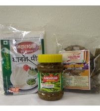 Combo of Ghavan Peeth, Chilli Pickle, Sandgi Mirchi