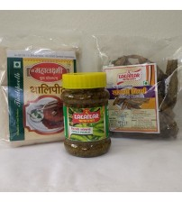 Combo of Thalli Peeth, Chilli Pickle, Sandgi Mirchi